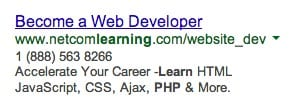 AdWords Ad with a clear benefit