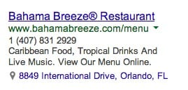 AdWords Ad with phone number and address