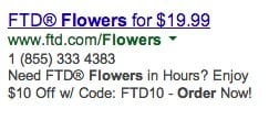 AdWords Ad with funky characters